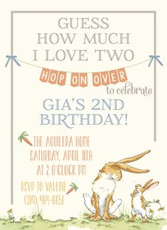 party invite for GUESS HOW MUCH I LOVE YOU themed birthday