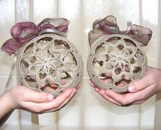 Here are two Crochet Christmas balls for your home or office decoration. The balls will look beautiful on your Christmas tree or as a window decor. Crochet Christmas Decorations, Crochet Christmas Trees, Christmas Crochet Patterns, Holiday Ornaments, Christmas Globes, Christmas Items, Christmas Balls, Christmas Projects, Crochet Ball