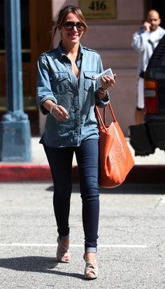 Haylie Duff- denim on denim Denim Shirt, Jeans, Hilary And Haylie Duff, Balenciaga Bag, Weekend Outfit, The Duff, Portrait, Role Models, Spring Summer Fashion