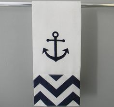 Anchor Chevron Kitchen or Hand Towel - Navy and White