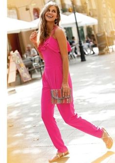 Dlouhý overal s volánovým výstřihem #modino_sk #modino_style #shopping #afternoonout #coverall #mono #overal #fashion #style #sun #spring #may Summer Outfits, Jumpsuit, Spring, Jar, Clothes, Dresses, Fashion, Overalls, Outfits