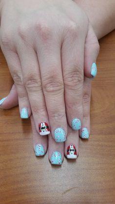 Santa and candy canes, Christmas gel nails
