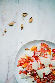 Salada de tomate e pêssego