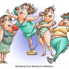 Kimberly First Workout Digi Stamp in Digital images - cakerecipespins. Cartoon People, Funny People, Desenho Pop Art, Image Digital, Art Impressions Stamps, Crazy Friends, Illustration, Girls Rules, Funny Art