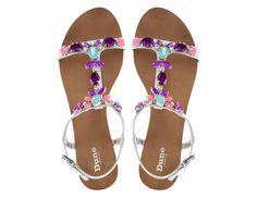 DUNE LADIES KHLOE - Jewel Embellished T-Bar Flat Sandal - multi
