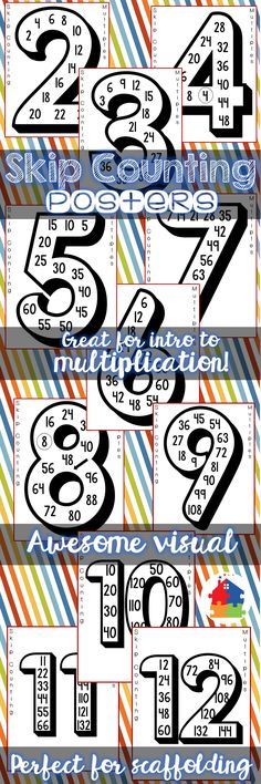 These skip counting posters are perfect to introduce multiples and multiplication facts, practice scaffolding, display in the classroom, project onto a screen for a sing along, or place in a math center. There are so many creative uses for these posters!