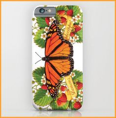 Monarch Butterfly with Strawberries iPhone6 iPhone6 plus smartphone case slim or tough watercolour design by Maine artist Patricia Shea