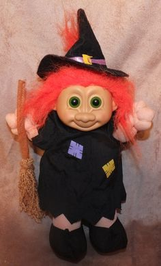 Russ Witch Troll Doll by MoonbearConnections on Etsy Witch Dolls, Troll Dolls, Halloween Crafts, Pop Culture, Disney Characters, Fictional Characters, Disney Princess, Unique Jewelry, Handmade Gifts