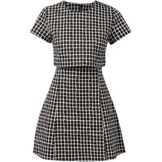 Fashion Union Black Grid Check Layered Dress (79840 PYG) ❤ liked on Polyvore featuring dresses, vestidos, round neck dress, short-sleeve dresses, print cocktail dress, short sleeve dress and double layer dress
