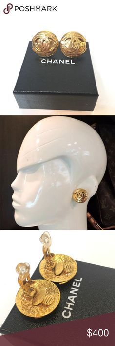 Authentic Chanel earrings 100% authentic Chanel Clip-on jumbo earrings. In very good condition. No tarnishing. Very gorgeous and timeless piece. No trade please. CHANEL Jewelry Earrings
