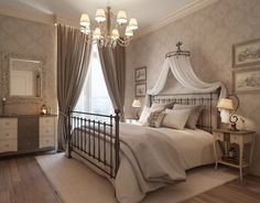 Bedroom Antique Bedroom Design With Wrought Iron Bed Frame and chiffon crown