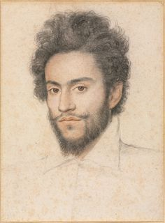 Young Man with a Beard, 17th century?  attributed to François Quesnel (French, 1543-1619) -   black, red, brown, and white chalk with stumping