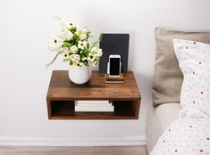 Walnut Bedside Table, Bedside Table Lamps, Bedside Table Styling, Wood Nightstand, Floating Nightstand, Nightstand Ideas, Floating Shelves, Minimalist Bedroom, Minimalist Bedside Tables