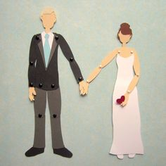 Custom Wedding Portrait Cake Topper Paper Dolls by PaperAcorn