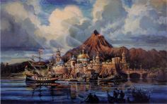 Rendering of Renaissance fortress and Mysterious island