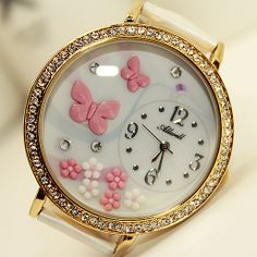 2013 butterfly polymer clay handmade 3D paragraph cartoon table ladies diamond watch - Pink ButterFly-ZZKKO