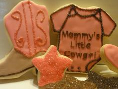 The Cookie Puzzle Cowgirl Cookies, Baby Cookies, Baby Shower Cookies, Sugar Cookies, Baby Shower Gender Reveal, Baby Shower Themes, Shower Ideas, Cowboy Theme, Cowgirl Party