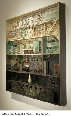 Train Miniature, Miniature Houses, Assemblage Art, Dioramas, Clay Miniatures, Dollhouse Miniatures, Art Boxes, Shadow Art, Assemblages