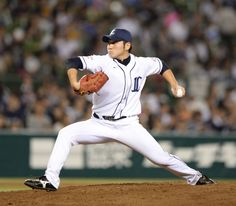 Tomomi Takahashi #43 fires 1 1/3 perfect innings of relief with striking out 2 Marines as he picks up his 1st win of the season - also the 1st of his NPB career - at Seibu Dome on October 8, 2013 in Tokorozawa, Saitama.