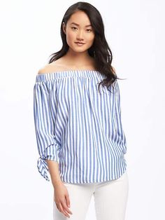 Relaxed Off-the-Shoulder Striped Top for Women