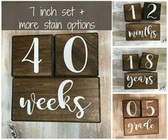 Versatile and timeless - these baby age blocks fit with your 4 month old and your 14 year old. Baby milestone blocks make a great baby shower gift, or a newborn gift once baby has arrived! Track progress starting as a pregnancy photo prop, on to baby photo shoots, and into a childs school years. Classic color schemes make these baby milestone blocks a great photo prop for years to come. **Larger than most other photo blocks (7 x 7)!** BASE BLOCK: -Weeks, Months, Years, Grade -Measures 7…