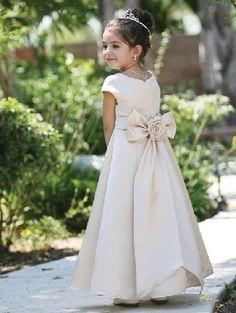 Long champagne satin round A-line short sleeves sash flower bowknot Flower Girl Dresses FGD193101