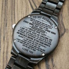 Husband Watch - Perfect Gifts For Husband - Engraved Wooden Watch - Men's Watch Great Gifts For Boyfriend, Gifts For Fiance, Gifts For Him, Love Gifts, Diy Gifts, Sweet Messages, Leather Notebook, Wooden Watch, Gifs