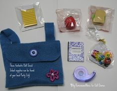 American girl doll craft sewin project backpack and school supplies