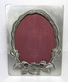 "Vintage 1985 Seagull Pewter Floral Photo Picture Frame PF124  3  1/2"" x 5"""