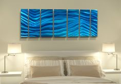 Aqua Blue Wave II by Jon Allen Metal Wall Sculpture, Wall Sculptures, Beautiful Modern Homes, Pigment Coloring, Off The Wall, Aqua Blue, Modern Decor, Waves, Contemporary