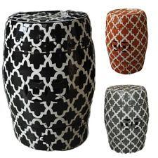 TRELLIS Round Ceramic Drum Stool Orange Red Grey Black White Side Table Stand