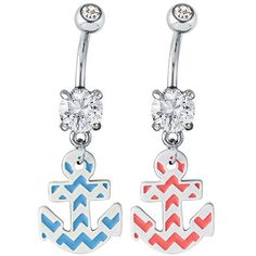 FreshTrends CZ Chevron Striped Anchor Dangle Belly Button Ring