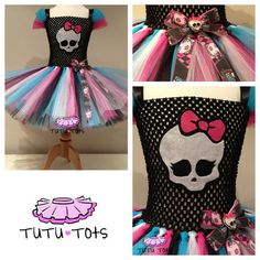 Monster High Inspired Tutu Dress Party Costume Fancy 1 2 3 4 5 6 7 8 yrs | eBay