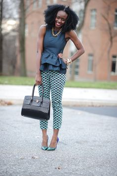 Nifesimi of Skinny Hipster wearing a ASOS peplum top, turquoise printed pants, pointy toe pumps