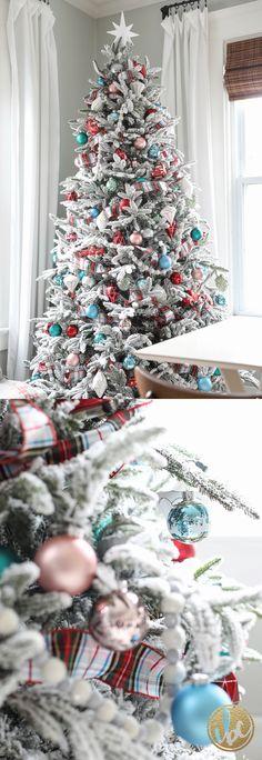Colorful Modern Flocked Christmas Tree | Holiday Home Tour via inspiredbycharm.com
