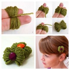 32 Awesome No-Knit DIY Yarn Projects Easy hairclip/ponytail holder the perfect way to use up little bits of yarn! The post 32 Awesome No-Knit DIY Yarn Projects appeared first on Yarn ideas. 32 Awesome No-Knit DIY Yarn Projects Easy hairc Yarn Projects, Crochet Projects, Diy Yarn Holder, Yarn Crafts For Kids, Diy Crafts, Diy Accessoires, Ideias Diy, Barrettes, Diy Hair Accessories