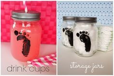 Baby Footprint Mason Jars