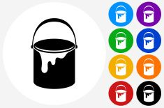 Paint Bucket Icon on Flat Color Circle Buttons vector art illustration