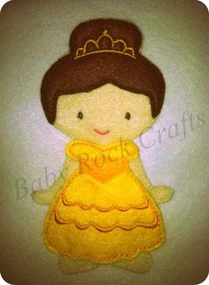Belle beauty and the beast felt dress up doll by BabyRockCrafts, $12.00