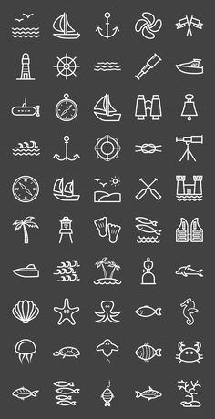 50 Sea Line Inverted Icons - Icons Más