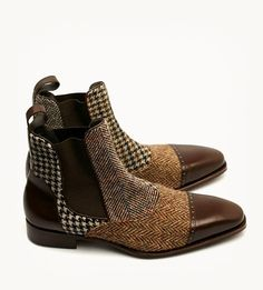 Multi Color Genuine Suede Leather Tweed Cap Toe Chelsea Spectator Ankle Boots sold by fineleather. Me Too Shoes, Men's Shoes, Shoe Boots, Dress Shoes, Suede Leather Shoes, Leather Cap, Shoes Brown, Brown Boots, Fashion Shoes