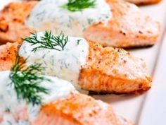 Cooking With Karyn: Grilled Salmon with Yogurt Dill Sauce Cucumber Dill Sauce, Dill Sauce For Salmon, Lemon Salmon, Salmon Pasta, Salmon Dinner, Grilled Salmon, Baked Salmon, Shrimp Recipes, Healthy Foods