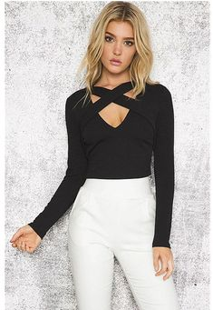 11cd51fbdbd Crisscross Front Crop Top Women s Autumn New Slim Shirt Europe And the USA  Chest Cross Straps Rib Tight Shirt. Solid BlackLace UpDeepV NeckElegantLong  ...