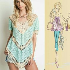 Everything Is Beautiful Crochet Knit Top- umgee This boho dream top can be worn as is over a swim suit, or layer under with cami's.  Fit's so beautifully on everyone. Sizes S, M, L 60% cotton 40% Polyester Crochet Knit  Soft & lightweight V-neck Hand wash cold Tops Blouses