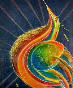 """peinture acrylique de Carole HERVIER """"Phoenix"""" 38x46 cm"""