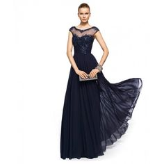 Navy Blue Illusion Long Prom Dresses With Beading Bodice