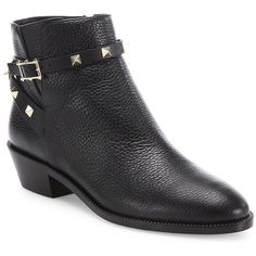 Valentino Rockstud Leather Ankle Booties (35 880 UAH) ❤ liked on Polyvore featuring shoes, boots, ankle booties, apparel & accessories, black, leather boots, black leather bootie, black ankle booties, black studded booties and black leather boots