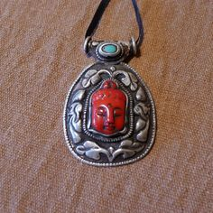 Tibetan two-sided Pendant - Coral Buddha & Silver