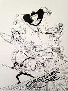 Sunday morning super-heroes Young Justice by Christopher Jones Superboy Aqualad Miss Martian Kid Flash Artemis Robin
