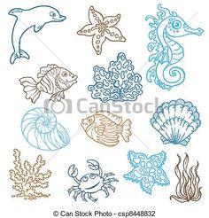 marina, vida, doodles, -, mano, dibujado, Colección, vector - csp8448832